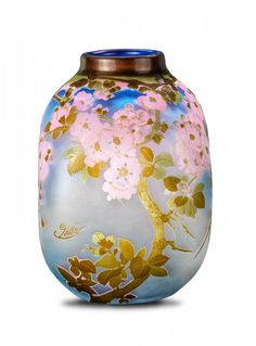 Cherry Blossoms An Emile Galle carved cameo glass vase, French, moulded signature Galle Art Of Glass, Glass Vase, Cut Glass, Glass Artwork, Motifs Art Nouveau, Glas Art, Vintage Vases, Objet D'art, French Art