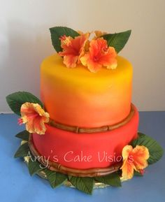 Luau I used my airbrush to get the sunset effect. Inspiration found on Cake Central. Pretty Cakes, Beautiful Cakes, Amazing Cakes, Luau Wedding, Wedding Cakes, Wedding Ideas, Hawaiian Luau Party, Hawaiian Birthday Cakes, Hawaiian Cakes