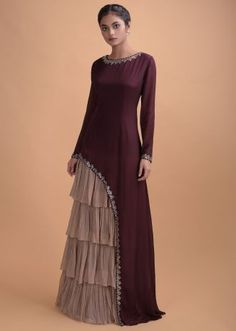 Wine Long Dress In Crepe With Asymmetric Cut And Dusty Pink Layered Details Online - Kalki Fashion Indian Fashion Dresses, Indian Gowns Dresses, Indian Designer Outfits, Party Wear Indian Dresses, Pakistani Fashion Party Wear, Designer Party Wear Dresses, Kurti Designs Party Wear, Designer Gowns, Designer Wear