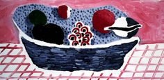 """Red And Black Fruit"" by David Hockney. 1988. Oil on canvas."
