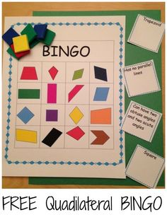 Have students create their own Bingo board by either writing quadrilaterals into boxes or having them cut shapes and glue down. Work on recognition of shapes and their characteristics with this FREE bingo game. Geometry Lessons, Teaching Geometry, Geometry Activities, Math Lessons, Math Activities, Geometry Games, Maths Guidés, Fun Math, Fourth Grade Math
