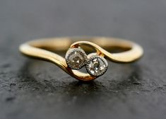 I'd sure like an engagement ring that looks like this.  Antique Art Deco Ring - Diamond Art Deco 18ct Gold & Platinum Ring