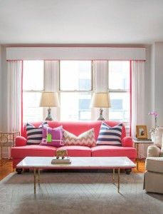 Solid pink couch, pink and white #drapes, and navy and white striped pillows. The bold contrast is fun and interesting! #curtains