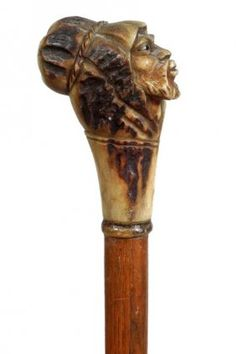 208. Bedouin Stag Cane-Ca. 1935-Carved nicely with two
