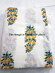 5 Yard Women Dress Making Hand Block Flower Print Voile Sanganri Print Fabric