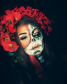makeupbymarisha                                                                                                                                                                                 More Sugar Skull Makeup, Sugar Skulls, Zombie Makeup, Halloween Face Makeup, Dead Beautiful, Cool Face, Everyday Makeup, Face Art, Macabre