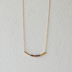 Tube geometric necklace colored thread by AMEjewels on Etsy