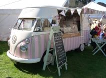 ice cream van hire, VW splitscreen camper perect for your special day   Polly's Vintage Ice Cream Parlour