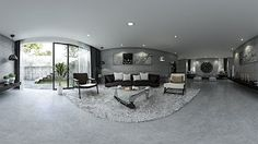 4K _ 360 Panorama Rendering Preview Modern Concrete Living Room _ Vray Sketchup _
