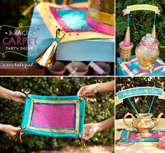 Magic Carpet tutorial inspired by Aladdin & Princess Jasmine. Using a pillow case + glitter you can make your own magic carpet for a princess party! Aladdin Party, Disney Princess Birthday Party, Birthday Party Themes, Birthday Crowns, Cinderella Party, Tangled Party, Tinkerbell Party, Princess Party Games, Birthday Diy