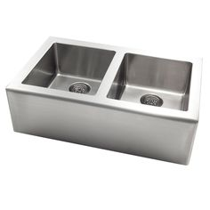 Jacuzzi 20-in x 33-in Stainless Steel Double-Basin Apron Front/Farmhouse Kitchen…