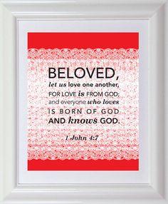 Valentine Scripture Art Print 8x10 Bible Verse by designloveshare, $12.99 1 John 4:7