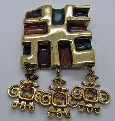 Vtg Gem  Craft Modernist Brooch Square Dangle Gold Tone Green Brown Enamel #GEMCRAFT