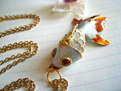 koi pond necklace - upcycled cloisonne koi fish and long gold rolo chain. $30.00, via Etsy.