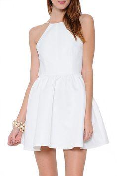 Astor Fit & Flare Open Back Dress - White