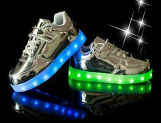 Kids Silver Light Up Trainers With Shoelaces