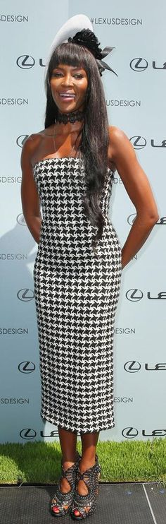 Naomi Campbell's Christian Dior Fall 2013 Strapless Houndstooth Dress http://fashionbombdaily.com/2013/11/02/hot-hmm-naomi-campbells-victoria-derby-day-christian-dior-fall-2013-strapless-houndstooth-dress/