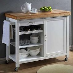 Real Simple® Rolling Kitchen Island in White $300 bed bath & beyond ...