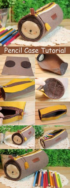 Holders Tutorial How to make zippers pencil case DIY sewing tutorial in pictures.How to make zippers pencil case DIY sewing tutorial in pictures. Pencil Case Tutorial, Zipper Pencil Case, Diy Pencil Case, Pencil Case Pattern, Diy Bag Zipper, Zippered Pouch Tutorial, Tote Pattern, Zipper Pouch, Sewing Projects For Beginners