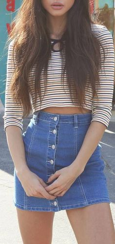 simple ootd top   denim skirt (this reminds me of one of the outfits worn in the bad liar music video by Selena Gomez)