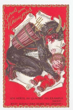 CHRISTMAS Gruss Vom KRAMPUS Capturing Naughty Child