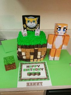 Kenny's Minecraft Stampy Longnose Birthday Cake!  This year I did 4 layers!   2 chocolate and 2 yellow!