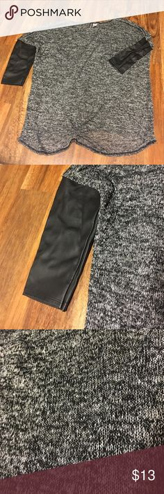 """Black & Gray Thin Leather Sweater Only worn once! It is a thin material with """"leather"""" on the sleeves that comes right above the elbow. Size 2 and in great condition. H&M Sweaters"""