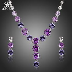 AZORA Charming Colorful Cubic Zirconia Pendant Necklace and Drop Earrings Jewelry Sets TG0165