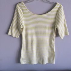 NWOT Striped Crop Sleeve Shirt NEW WITHOUT TAGS // Striped Crop Sleeve Shirt. Stripe Color is a combination of lime Green and yellow. Boatneck Neckline is higher in front and lower in back. // Banana Republic // Sz S. Fits more like a medium. // Non-smoking home Banana Republic Tops Tees - Short Sleeve