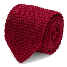 Maroon Solid Silk Knit Tie | CuffLinks.com  | Hook & Albert | 4th of July | Men's Accessories