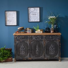 598 euros Buffet enfilade 3 portes bois et noir - Made in Meubles. - could convert into a vanity - maybe they can repaint (is available in white) and add zinc top? New Paris, Vanity Units, Towel Rail, Ikea, Sweet Home, Cabinet, Storage, Furniture, Bastille
