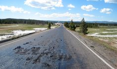 Yellowstone road melts in 'hot spot' created by supervolcano heat. Officials have closed Firehole Lake Drive and access to some geysers and thermal features in Yellowstone National Park Yellowstone Volcano, Yellowstone National Park, National Parks, Wyoming, Hot Springs, Places, Extreme Heat, Extreme Weather, Roads