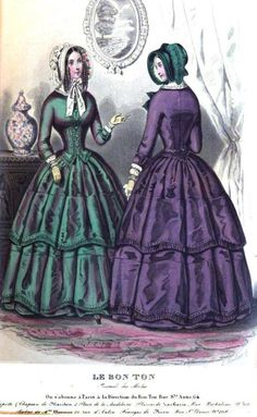 Le Bon Ton (Published in the Lady's Magazine), 1845 - two views of the same dress, actually!