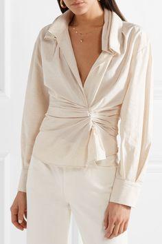 Jacquemus | La Chemise Belem ruched cotton and linen-blend shirt | NET-A-PORTER.COM