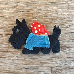 Vintage Original Early BLACK SCOTTIE DOG CELLULOID Pin Brooch Japan 1930s