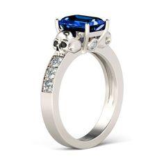Jeulia Emerald Cut Created Sapphire Skull Ring