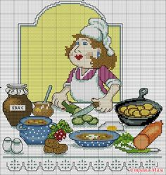point de croix cuisinière - cross stitch cook