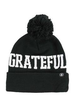 Grateful+Pom+Beanie+Black+#BLACK+#HATS