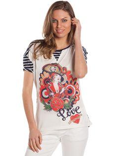 Camiseta Hacienda Blanca #camisetanavyblanca #estilomarinero #camisetaconpirata #navylook