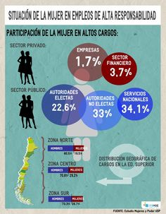 Cuántas mujeres chilenas están ocupando empleo en altos cargos en 2013? #INFOGRAFIA #RRHH #CHILE Chile, Map, Infographics, School, Financial Statement, Law, Women, Feminism, Chili Powder