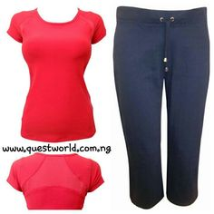 Active Performance Vest Top size 14 #3000 Navy Drawstring Joggers size 14 16 18 #3500 www.questworld.com.ng pay on delivery within Lagos. Nationwide delivery