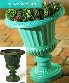 Painted plastic urns and flower pots. Be sure to use spray paint that bonds with plastic.