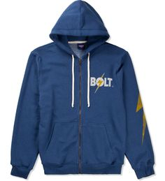 Lightning Bolt- Bolt Blue Sleeve Triblend Zip Hoodie