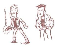 """Bocetos para cómic. Personaje rockabilly """"Rocko Bad""""."""