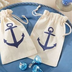 Anchor Muslin Favor Bags for a nautical or beach wedding, bridal shower or baby shower. - Beach Front Occasions, www.beachfrontoccasions.com
