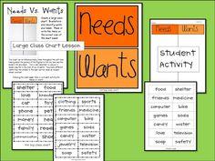 Needs vs. Wants whole group activity