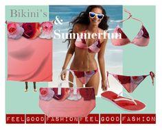 "Bikini's & Summerfun'  My fashion Collection is made to feel Good""         *See 100 more looks'                Feel Good Fashion @ www.marijkeverkerkdesign.nl  Women's Brazillian Bikini, Beach scarf wrap, Beach Bags, Red flipflop summer slippers, designer sunglasses"