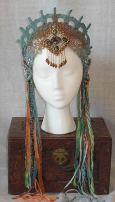 Art Nouveau Mythical Mermaid Fantasy Belly Dance Renaissance Fairy Princess Queen Crown Headpiece headdress Beaded fringe crystals