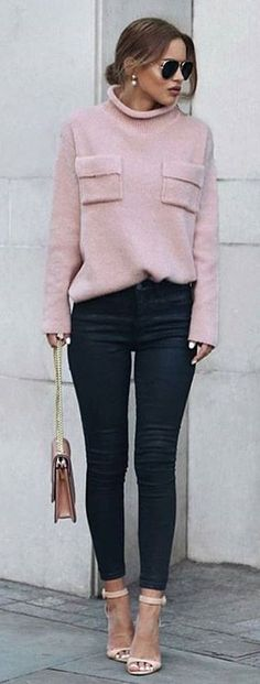 Pink Turtleneck / Black Jeans / Pink Sandals