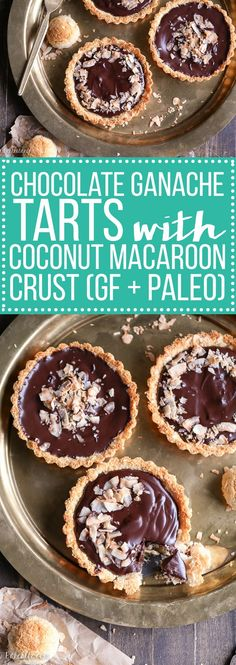 These Chocolate Ganache Tarts with Coconut Macaroon Crust are Paleo, gluten-free + refined sugar free, but you'd never guess! My family gobbled up these quick & easy tarts up so fast!